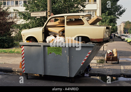 History The very first Trabant car to be thrown away after the fall of the Berlin Wall in summer 1990 - Stock Photo