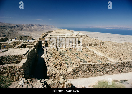 View north to ruins of Northern palace from store rooms lookout Masada Masada National Park UNESCO World Heritage - Stock Photo