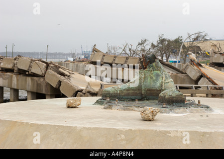 Boot of Golden Fisherman statue six months after Hurricane Katrina in Biloxi Mississippi USA - Stock Photo