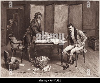Man standing offers a seated man a quill pen to use in signing a document, 18th century, USA. - Stock Photo