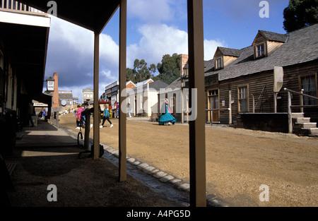 Main street in historical gold mining village of Sovereign Hill Ballarat Victoria Australia Pacific - Stock Photo