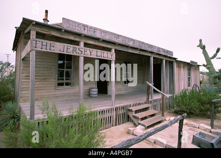 Bar and courthouse of the famous Judge Roy Bean Langtry Rio Grande west Texas United States of America U S A North - Stock Photo