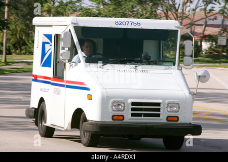 US mail service delivering car vehicle transport Mailbox letterbox postbox postal correspondence shipping delivery - Stock Photo