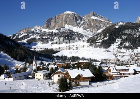 Pretty village of Corvara in the snow, Dolomites, Italy . - Stock Photo