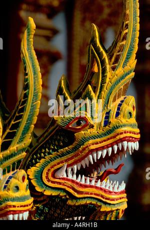 naga, nagas, naga head, naga heads, staircase, Wat Bupparam, Chiang Mai, Chiang Mai Province, Thailand, Southeast - Stock Photo