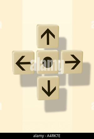 Arrows in 4 directions Pfeile in 4 Himmelsrichtungen - Stock Photo