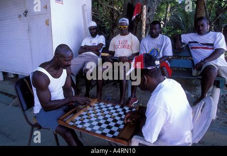 Fishermen at Charlotteville playing checkers Tobago - Stock Photo