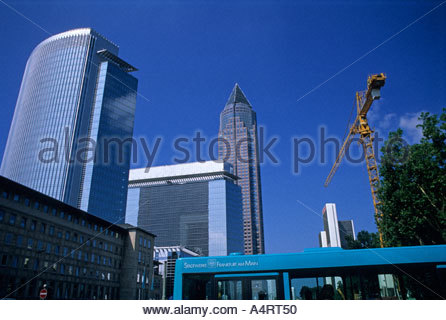 frankfurt germany architecture buildings pollux forum messeturm plaza b ro center gallusviertel district skyscrapers - Stock Photo