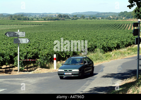 Car Driving through vineyards in the Ventenac Minervois area Languedoc Roussillon Southern France - Stock Photo