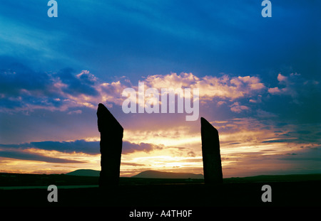 Stones of Stenness, Orkney, Scotland, UK. Two of the prehistoric stone circle stones at sunset - Stock Photo
