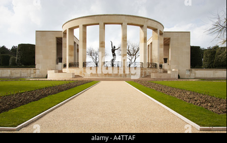 Garden of the missing and Spirit of American youth memorial American military cemetery Normandy France - Stock Photo