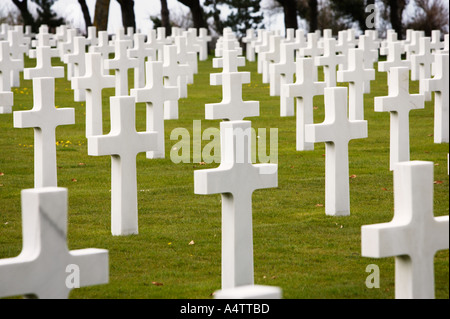 War Graves at the American Military Cemetery in Coleville sur Mer, Normandy, France - Stock Photo