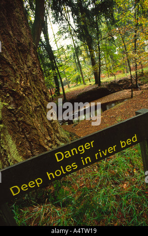 Danger sign near a river in the New Forest Hampshire county England UK - Stock Photo