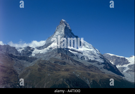 Mount Matterhorn above Zermatt Hoernliridge in front between East wall and North face Valais Alps Switzerland - Stock Photo