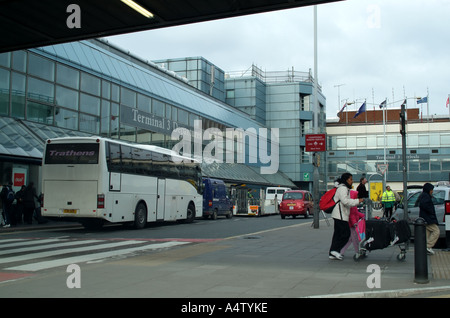 Terminal 3 departures building at London Heathrow Airport southern England United Kingdom UK - Stock Photo