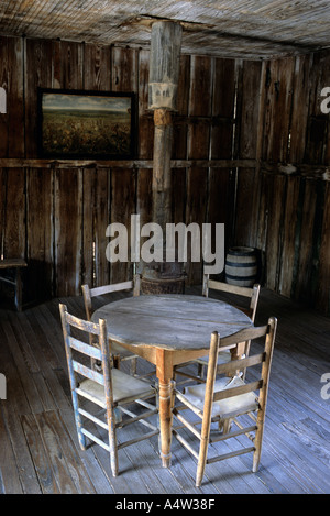 View of the historic saloon courthouse of judge Roy Bean in Langtry Texas - Stock Photo