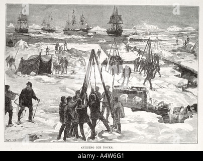 Polar arctic men work cut saw derrick tent ship boat sail ice flow open water cold nautical marine maritime wave - Stock Photo