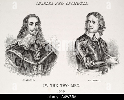 charles 1st  Cromwell oliver portrait bust soldier civil war English royalist history roundhead rival enemy king - Stock Photo