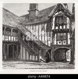 courtyard leicester's hospital warwick stratford Lord Leycester staircase covered doorway door architecture Travel - Stock Photo