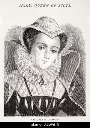 mary queen of scots 1542 1587 Stuart daughter James V King Scotland English royal monarch portrait ruff cap bonnet - Stock Photo