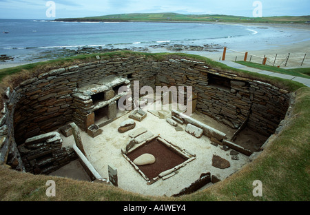 Neolithic settlement Skara Brae, Orkneys - Stock Photo