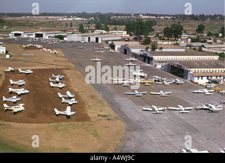 Aerial view of Wilson Airport Nairobi Kenya East Africa There are many light aircraft parked near the terminal buildings - Stock Photo