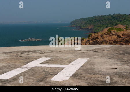 Helicopter land on abandoned army base lonely isle in Indian Ocean - Stock Photo