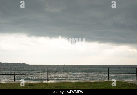 Storm clouds from the prominade at gloucester massachusetts - Stock Photo
