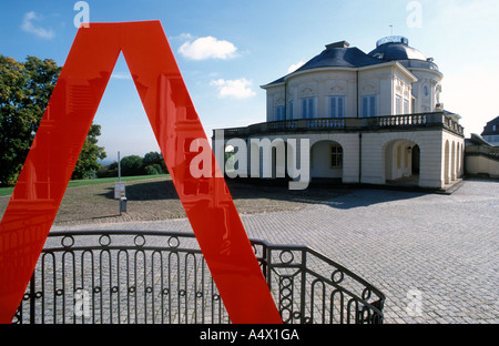 Red sign of the academy Solitude castle in front of Solitude  castle Stuttgart Baden Wuerttemberg Germany - Stock Photo
