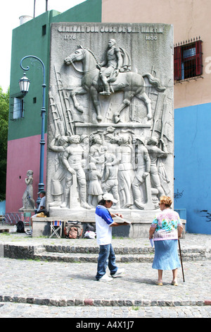 Monument to General Jose de  San Martin in La Boca Buenos Aires Argentina - Stock Photo