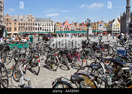 Bycicles at the Great Market square, Brugge, Flanders, Belgium - Stock Photo