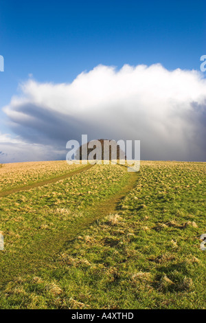 Storm Approaching with hail and extreme cold on Win Green Hill, Wiltshire - Stock Photo