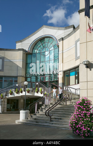 The entrance to Queens Arcade shopping centre Cardiff South Wales UK - Stock Photo