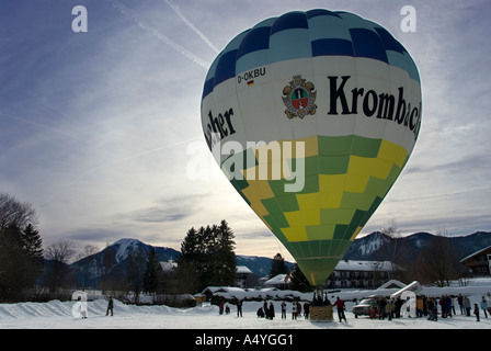 Colorful hot-air ballon just before the start, Montgolfiade Bad Wiessee, Bavaria, Germany - Stock Photo