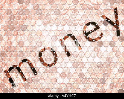 Word MONEY written on form made from coins - Stock Photo