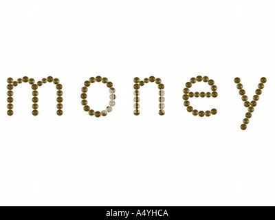 Word MONEY made from coins - Stock Photo
