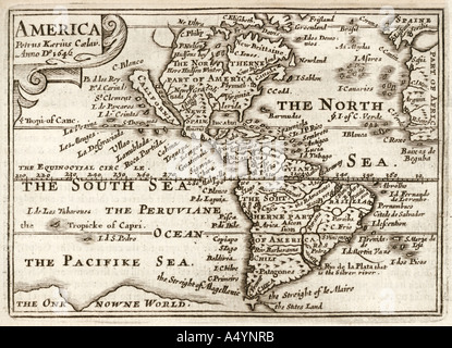 Antique map of America by Petrus Kaerius 1646 from John Speed Prospect of the most Famous Parts of the World 1675 - Stock Photo