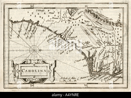 Antique map of Carolina by Petrus Kaerius 1646 from John Speed Prospect of the most Famous Parts of the World 1675 - Stock Photo