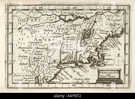 Antique map New England and New York by Petrus Kaerius 1646 from John Speed Prospect most Famous Parts of World - Stock Photo