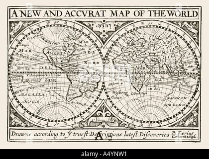 Antique map of the World by Petrus Kaerius 1646 from John Speed Prospect of the most Famous Parts of the World 1675 - Stock Photo