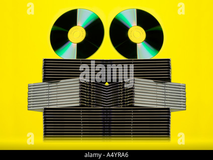 CD DVD Disks CDs DVDs - Stock Photo