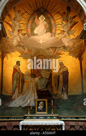 Side altar in San Clemente Rome Italy - Stock Photo