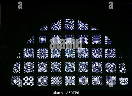 Window at Sidi Sayyedi s mosque at Ahmedabad in Gujarat India - Stock Photo
