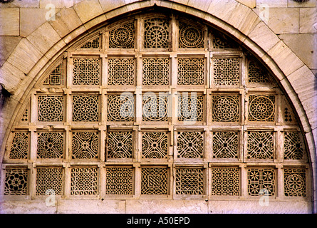 Carved stone window at Sidi Sayyedi s mosque at Ahmedabad in Gujarat India - Stock Photo
