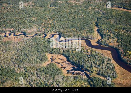 A tidal creek flowing through the Bass Harbor Marsh Maine USA - Stock Photo