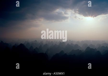 Sunset Over Yangshuo, China From Hot Air Baloon - Stock Photo