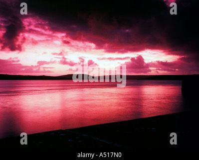 Sunrise over the camel estuary padstow Cornwall Padstein Rick Stein - Stock Photo