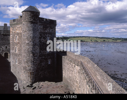 Blackness part of The Castle with Firth of Forth and shoreline beyond - Stock Photo