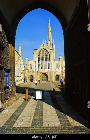 Norwich Cathedral Framed by Erpingham Gate - Stock Photo