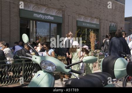People at outside tables at Murky Coffee cafe and restaurant on 7th Street near Eastern Market Washington DC - Stock Photo